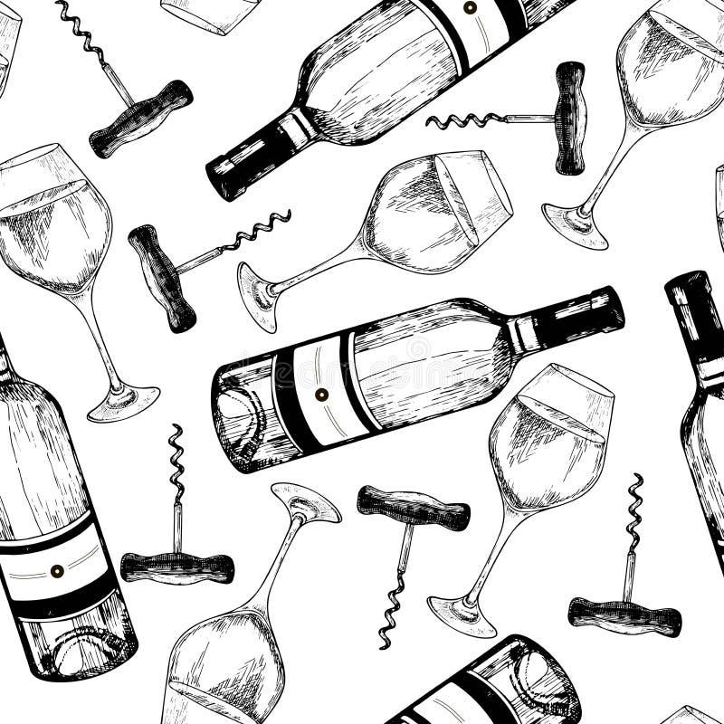 Nahtloses Muster des Vektors des Weißweins Hand gezeichnete gravierte Gegenstände Weinflasche, Glas und Korkenzieher lizenzfreie abbildung
