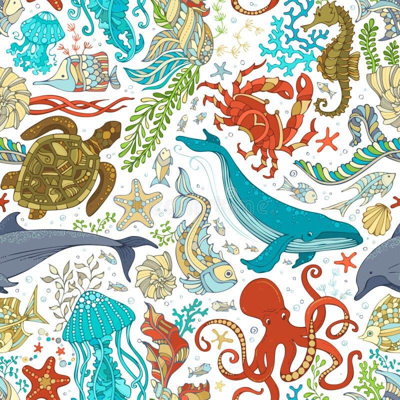 Nahtloses Muster des Vektors des wilden Seelebens stock abbildung