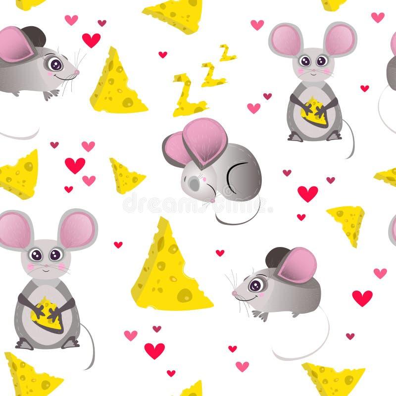 Nahtloses Muster des Vektors, Druck, Tapete mit Karikatur, netter, lustiger Charakter Maus und K?se Kind, Kind, Babydruck, Illust stock abbildung