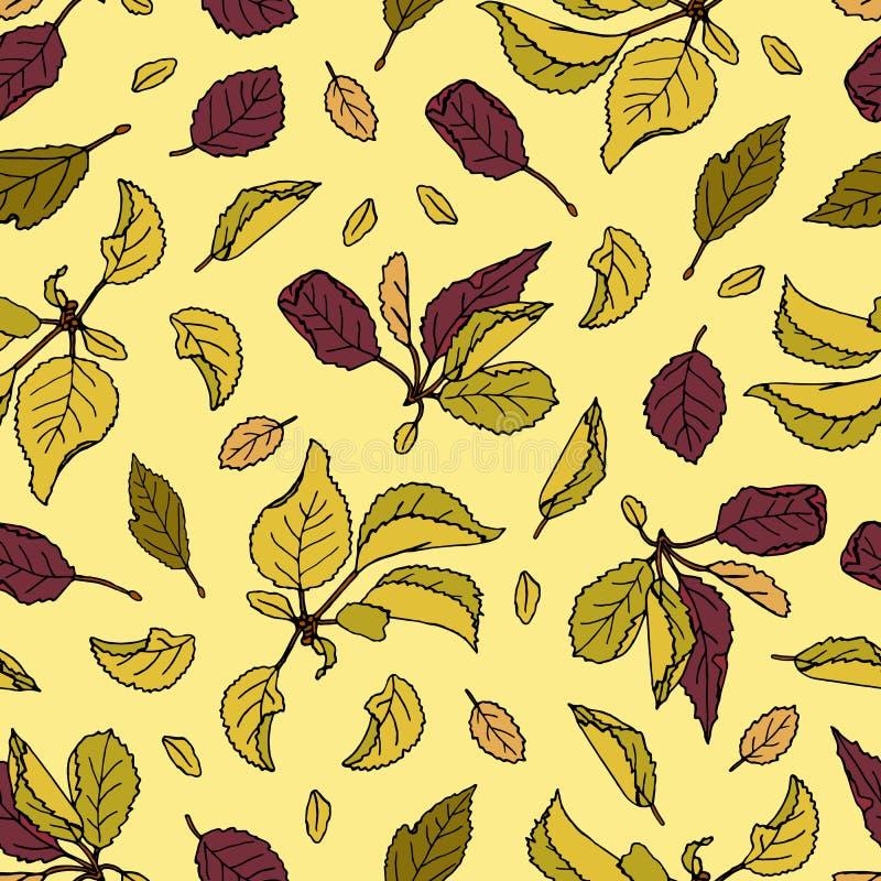 Nahtloses Muster des Vektors des farbigen Apfelbaums verl?sst auf hellem beige Hintergrund lizenzfreie abbildung