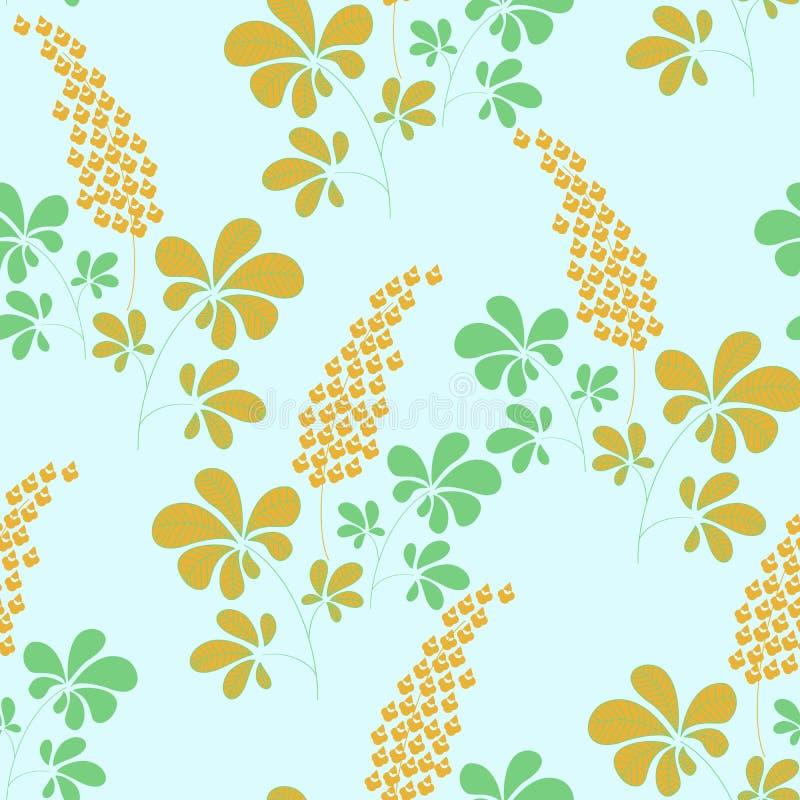 Nahtloses Muster des Vektors, Handgezogene botanische Elemente stock abbildung
