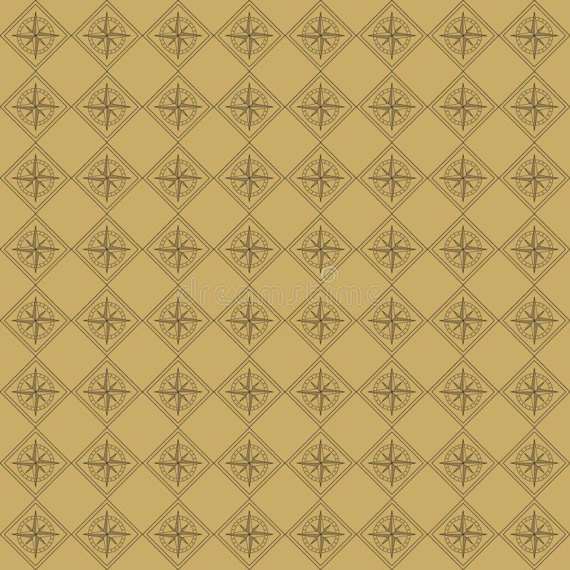 Nahtloses Muster des Vektors des Kompassses in der Weinleseart lizenzfreie abbildung