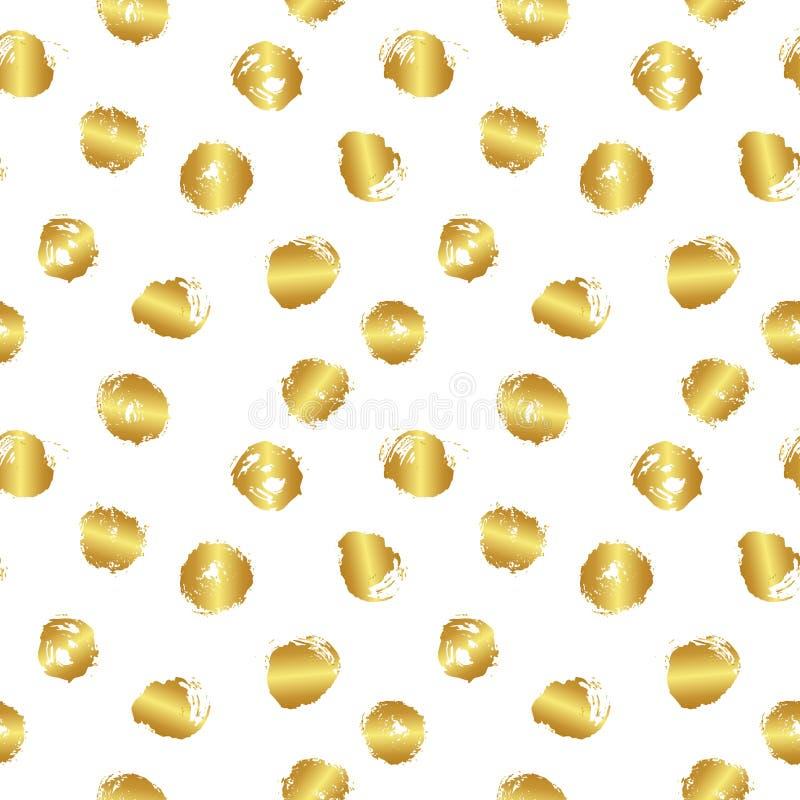Nahtloses Muster des Vektors mit Bürstenflecken und -kreis Goldsteigungsfarbe auf weißem Hintergrund Handgemalter Gutshof stock abbildung