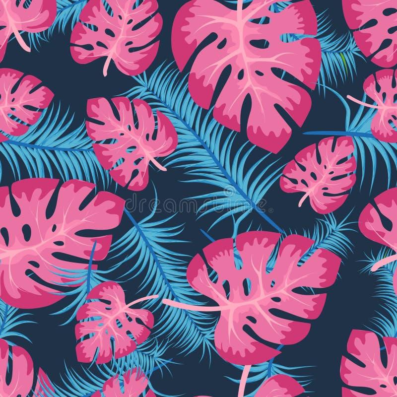 Nahtloses Muster des Vektors mit bunten tropischen Blättern Netter heller und Spaßsommerblumenhintergrund im modischen blauen Ros lizenzfreie abbildung
