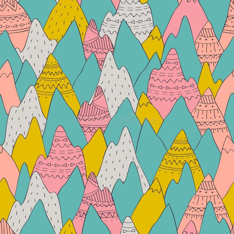 Nahtloses Muster des Vektors mit dekorativen Bergen vektor abbildung