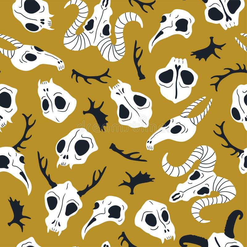 Nahtloses Muster des Vektors mit den Tierschädeln Halloween oder Tag des toten Designs für Gewebe mit den netten Schädeln lizenzfreie abbildung