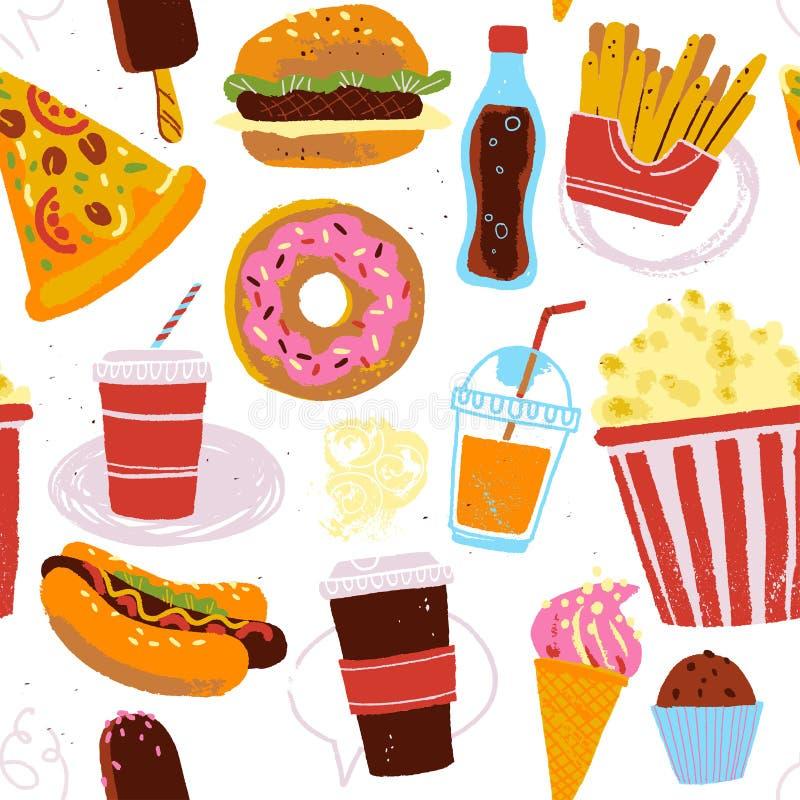 Nahtloses Muster des Vektors mit der geschmackvollen Schnellimbissillustration - Donut, Pizza, Burger, Würstchen, Kaffee zum Mitn vektor abbildung