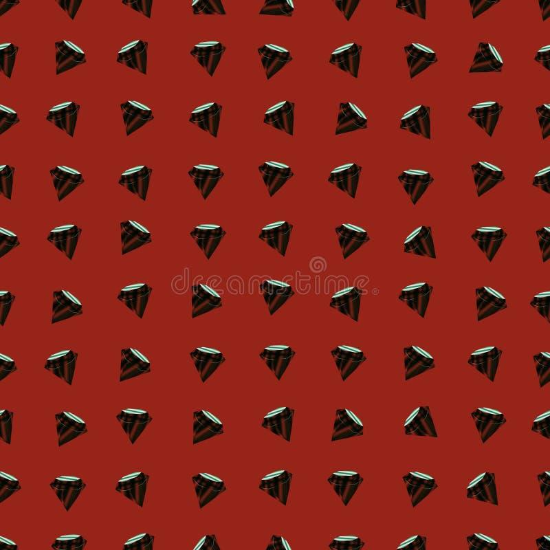 Nahtloses Muster des Vektors mit Diamanten Roter Hintergrund stock abbildung