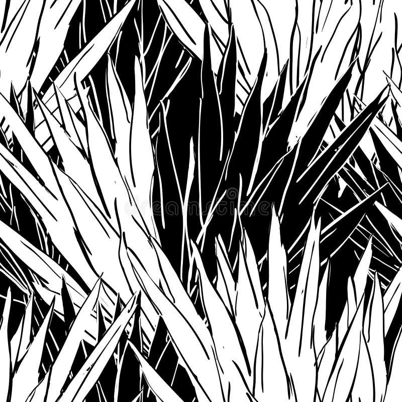 Nahtloses Muster des Vektors mit einfarbigen Blättern Übergeben Sie gezogener Natur organischen Hintergrund mit tropischen Schwar stock abbildung