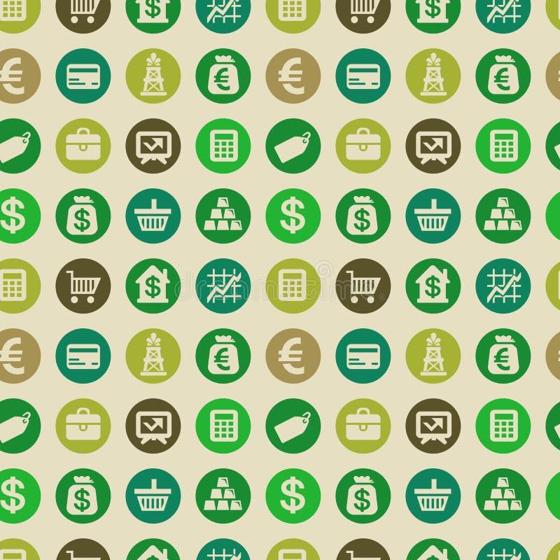 Nahtloses Muster des Vektors mit Finanzikonen lizenzfreie abbildung