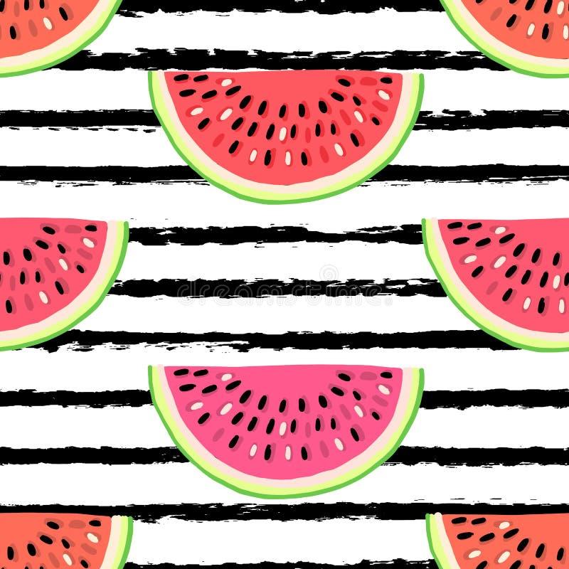 Nahtloses Muster des Vektors mit Früchten Bunte Hand gezeichneter Hintergrund lizenzfreie abbildung