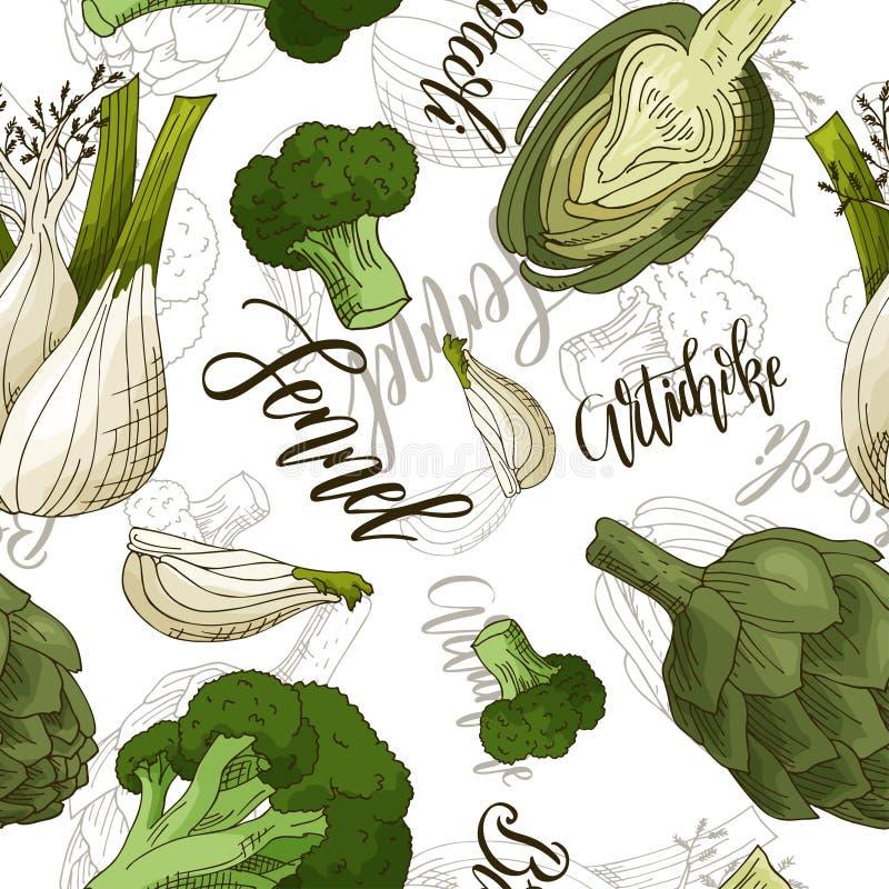 Nahtloses Muster des Vektors mit Gemüse Fenchel- und Artischocken- und Brokkolihintergrund Hand gezeichnete Elemente lizenzfreie abbildung