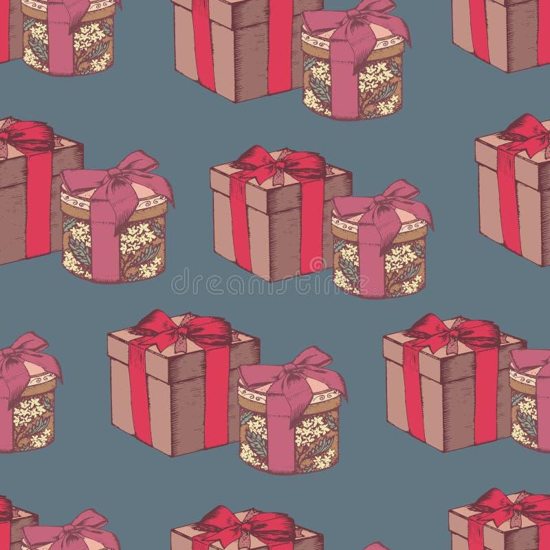 Nahtloses Muster des Vektors mit Geschenkboxen lizenzfreie abbildung