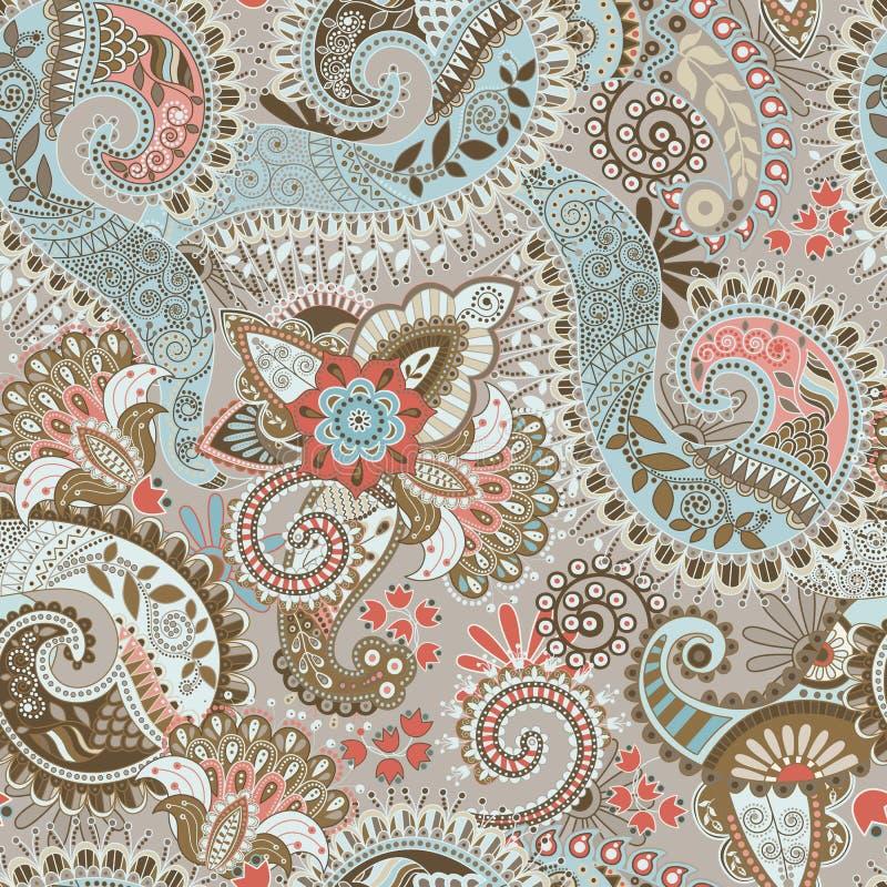 Nahtloses Muster des Vektors mit großen dekorativen Blumen Blaue und braune Blumentapete lizenzfreie abbildung