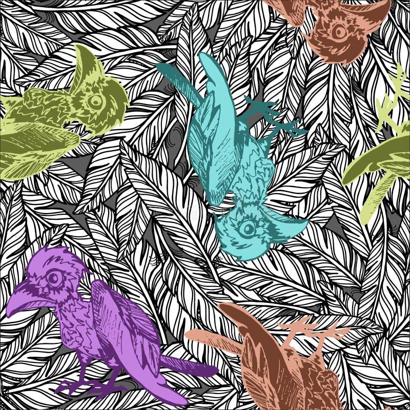 Nahtloses Muster des Vektors mit Hand gezeichnetem Gekritzel färbte Krähe auf Hintergrund mit Schwarzweiss-Federn vektor abbildung