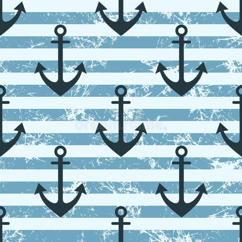 Nahtloses Muster des Vektors mit Ikonen des Ankers Kreatives geometrisches Blau gezeichneter Schmutzhintergrund stock abbildung