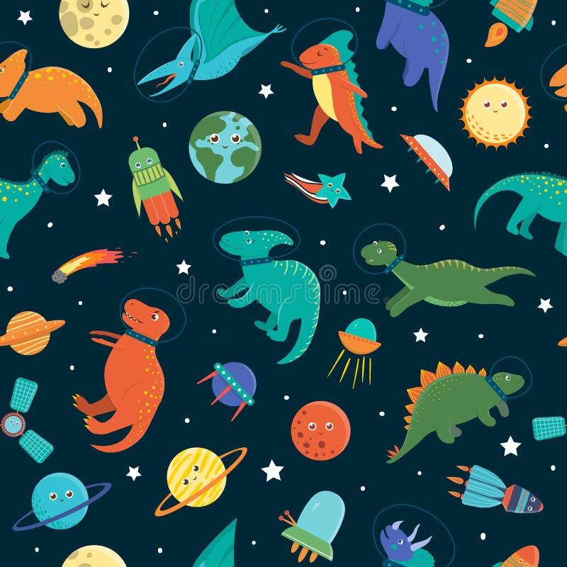 Nahtloses Muster des Vektors mit netten Dinosauriern im Weltraum vektor abbildung