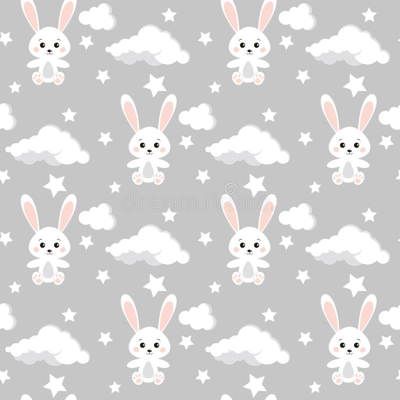 Nahtloses Muster des Vektors mit netten Kaninchen, Wolken, Sterne auf neutralem grauem Farbhintergrund lizenzfreie abbildung
