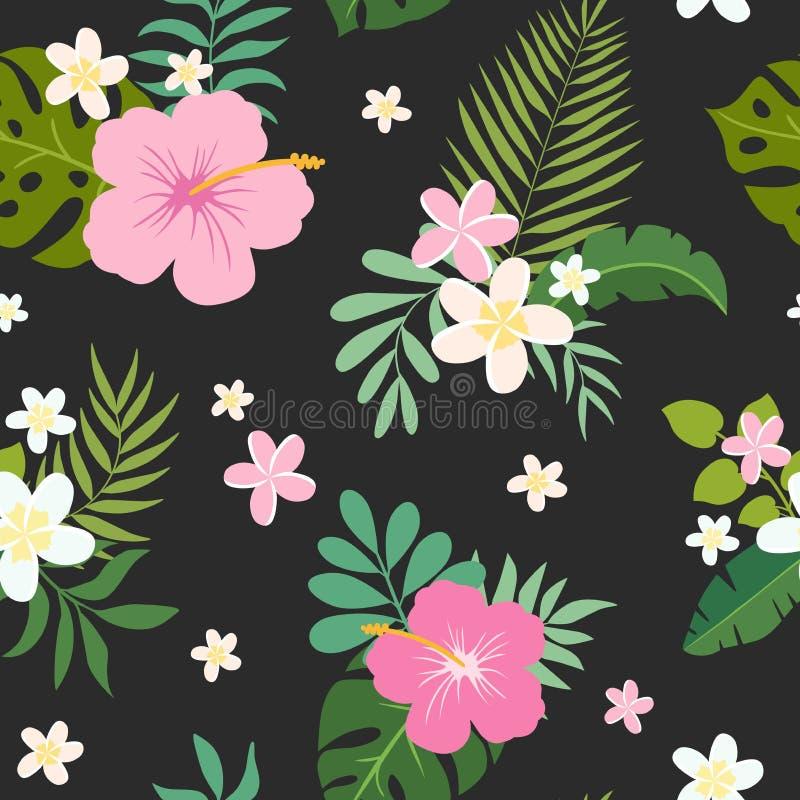 Nahtloses Muster des Vektors mit Palmblättern und Blumen lizenzfreie abbildung