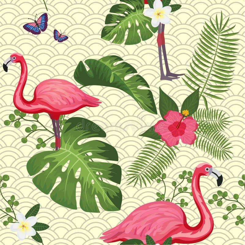 Nahtloses Muster des Vektors mit rosa Flamingo Für Packpapier Entwurfsplakat, Fahne, Druck auf Kleidung für Jungen oder vektor abbildung