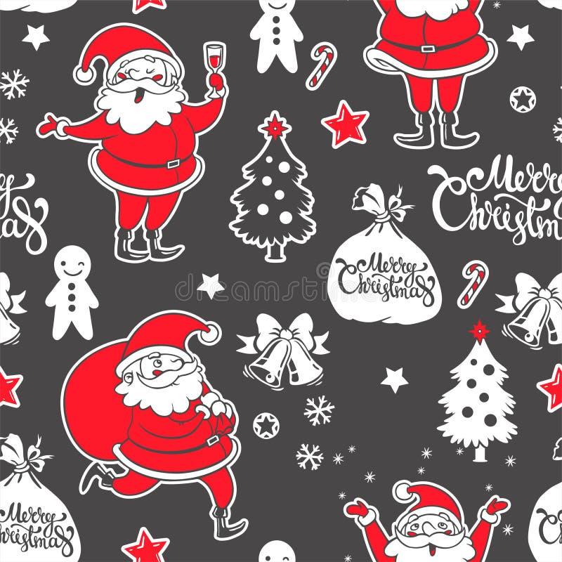 Nahtloses Muster des Vektors mit Santa Claus und Dekorationen lizenzfreies stockfoto