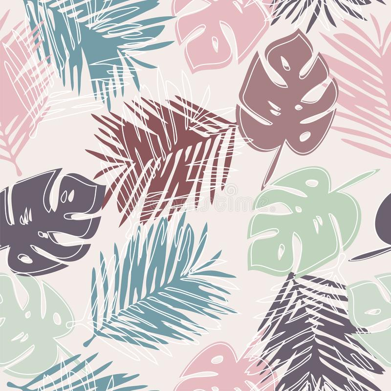 Nahtloses Muster des Vektors mit tropischen Blättern lizenzfreie abbildung