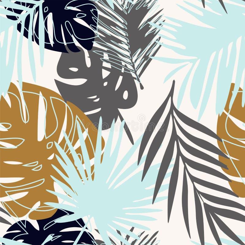 Nahtloses Muster des Vektors mit tropischen Blättern stock abbildung