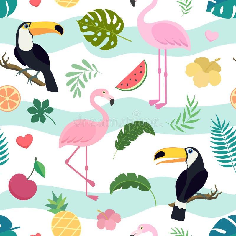 Nahtloses Muster des Vektors mit Tukan und Flamingo stock abbildung