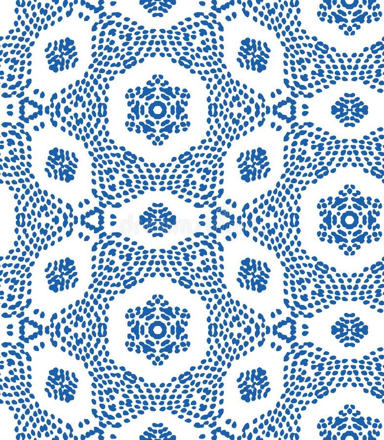 Nahtloses Muster des Vektors mit unregelmäßiger Punktbeschaffenheit im geometrischen Plan Ethnische blaue und weiße Gekritzelbesc lizenzfreie abbildung