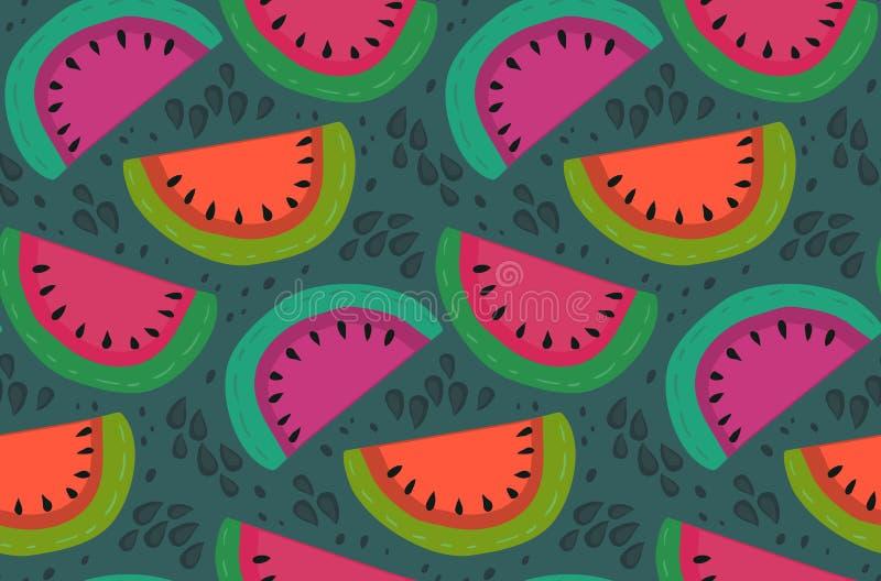 Nahtloses Muster des Vektors mit Wassermelonenscheiben in der flachen einfachen Art vektor abbildung