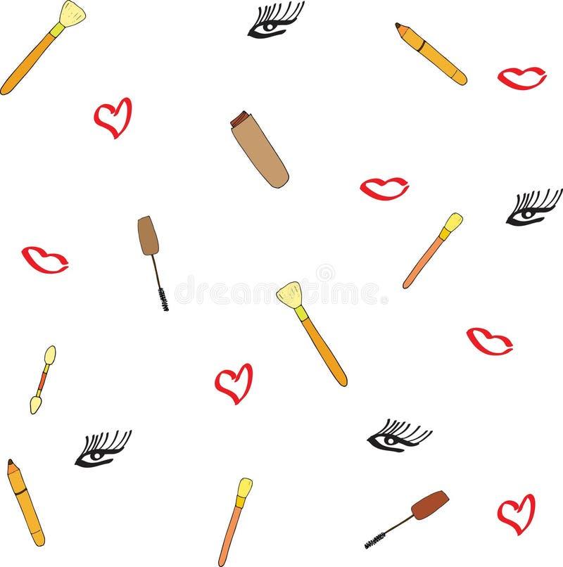 Nahtloses Muster des Vektors mit Wimperntusche und Bürste, Make-upbleistift, Frauenauge und roter Lippenmund Berufsmaskenbildner lizenzfreie abbildung