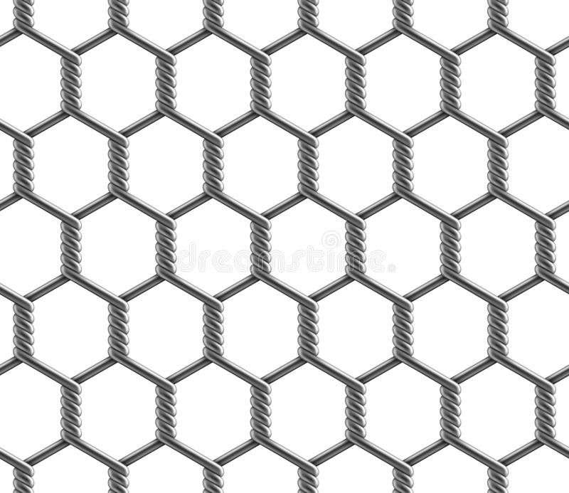 Nahtloses Muster des Vektors des sechseckigen verstärkten großen Zellkettengliedzauns lizenzfreie abbildung