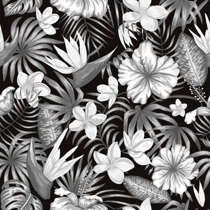 Nahtloses Muster des Vektors von einfarbigen tropischen Blättern vektor abbildung