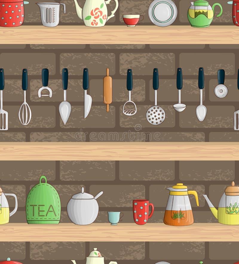 Nahtloses Muster des Vektors von farbigen Küchenwerkzeugen auf Regalen mit Ziegelsteinhintergrund vektor abbildung