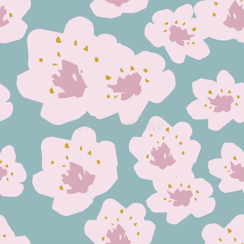 Nahtloses Muster des Vektors von Frühlingskirschblüten auf Himmelblauhintergrund lizenzfreie abbildung