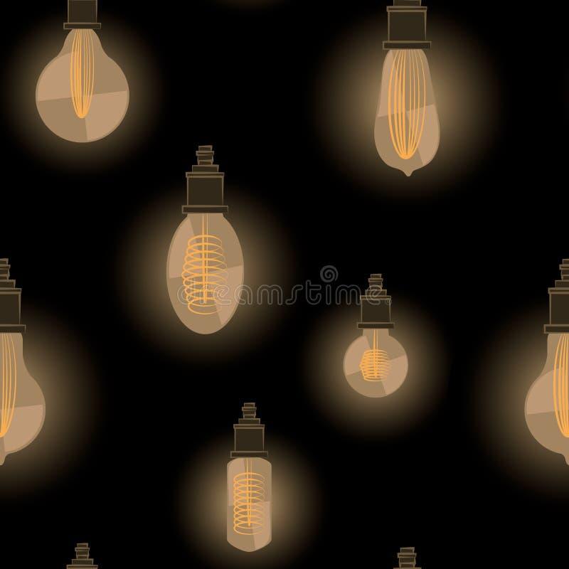 Nahtloses Muster des Vektors von glühenden Glühlampen in der Weinleseart auf dunklem Hintergrund lizenzfreie abbildung
