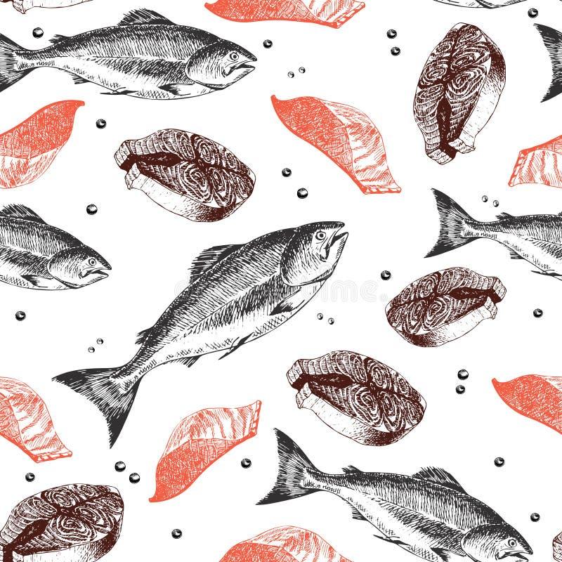 Nahtloses Muster des Vektors von Meeresfrüchten Lachsfische, Leiste und Scheibe Hand gezeichnete gravierte Ikonen stock abbildung