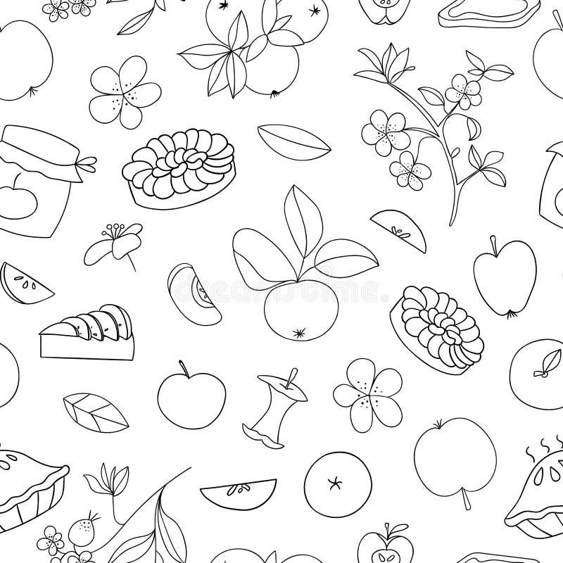 Nahtloses Muster des Vektors von netten von Hand gezeichneten ?pfeln, Apfelkuchen, Blumen, Stauglas Schwarzweiss-Wiederholungshin vektor abbildung