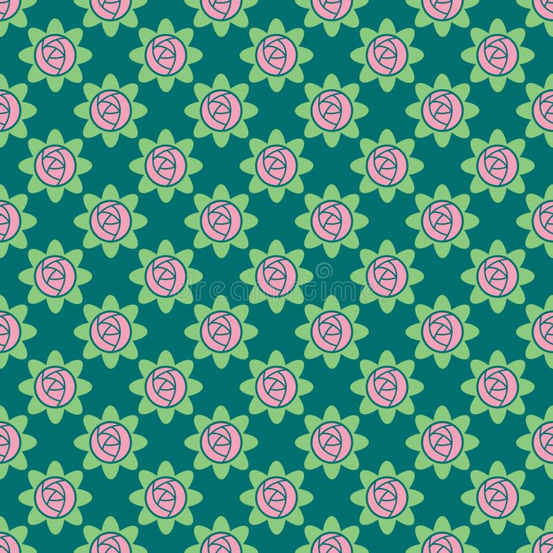 Nahtloses Muster des Vektors von Rosen vektor abbildung