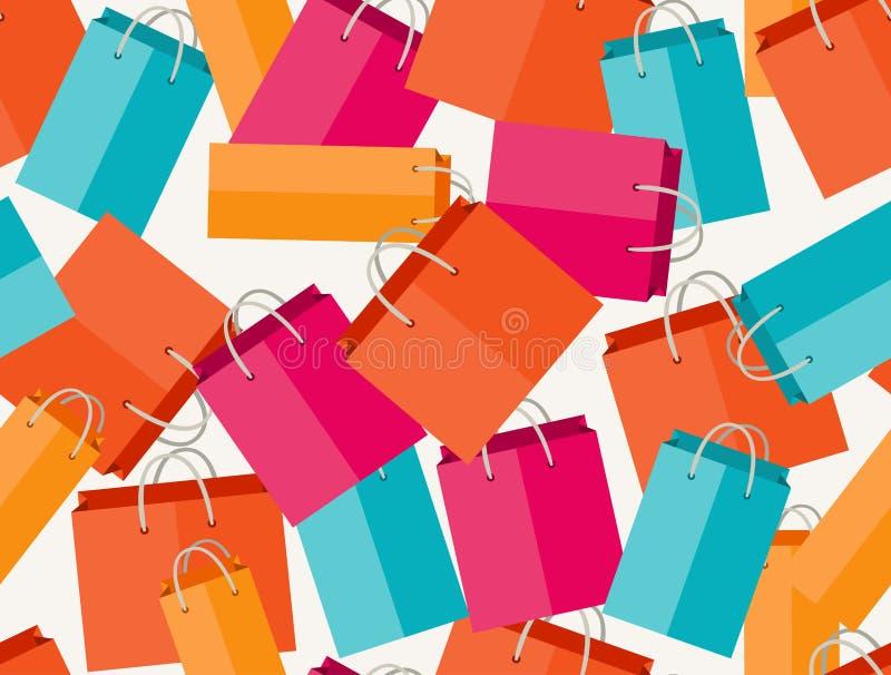 Nahtloses Muster des Verkaufs mit Einkaufstaschen in der Ebene lizenzfreie abbildung