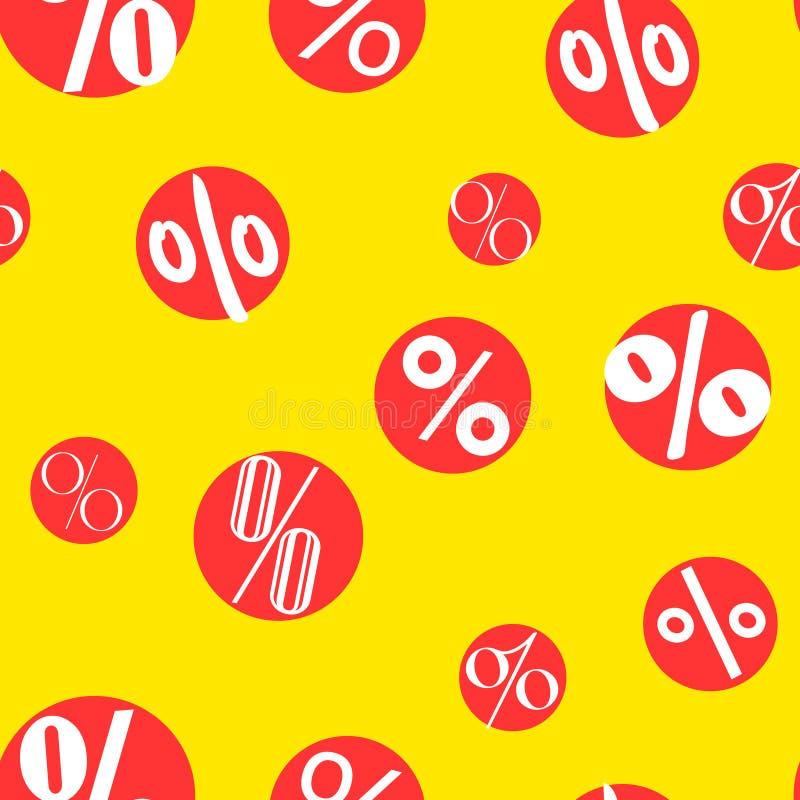 Nahtloses Muster des Verkaufs mit Prozenten auf den roten Kreisen Vektor stock abbildung