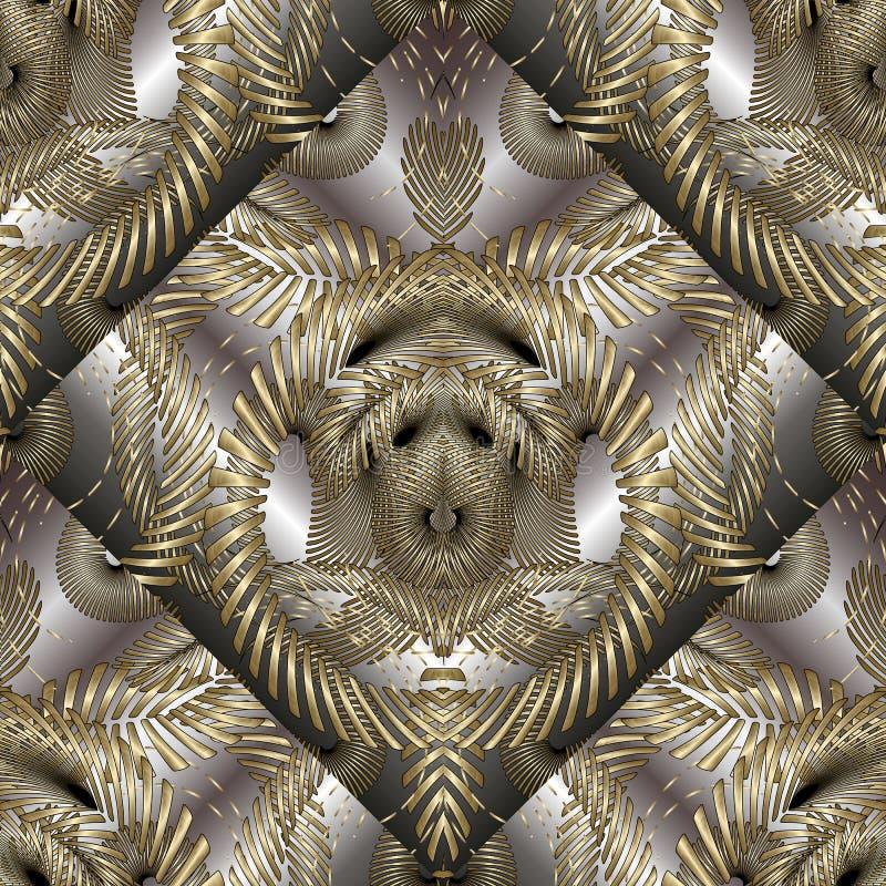 Nahtloses Muster des verwickelten abstrakten Vektors des Gold 3d Modernes ornam lizenzfreie abbildung