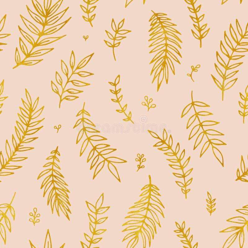 Nahtloses Muster des Volksblumenweinlese-Rasters Ethnische Blumenmotivrosa-Handgezogener Hintergrund Kontur golden vektor abbildung