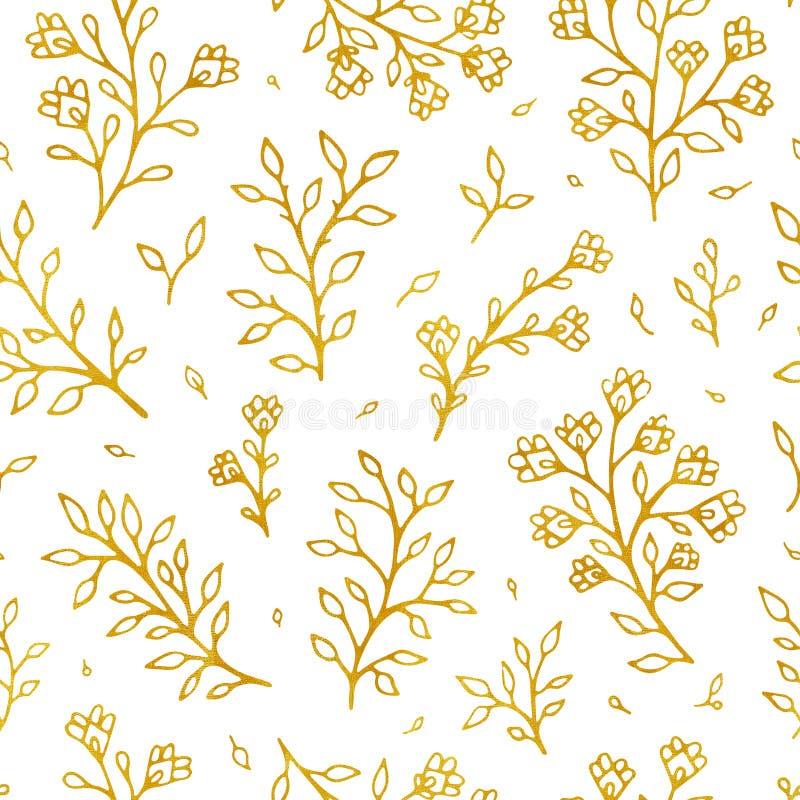 Nahtloses Muster des Volksblumenweinlese-Rasters Gezogener Hintergrund ethnische Blumendes motivs weiße Hand Kontur golden vektor abbildung