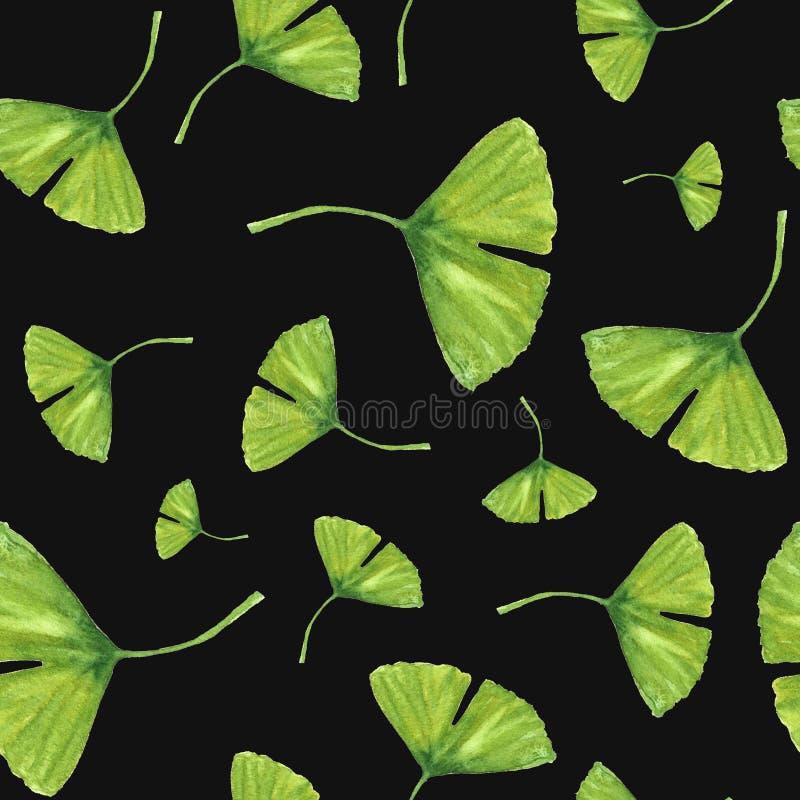 Nahtloses Muster des von Hand gezeichneten Aquarells mit frischen grünen Blättern lizenzfreies stockfoto