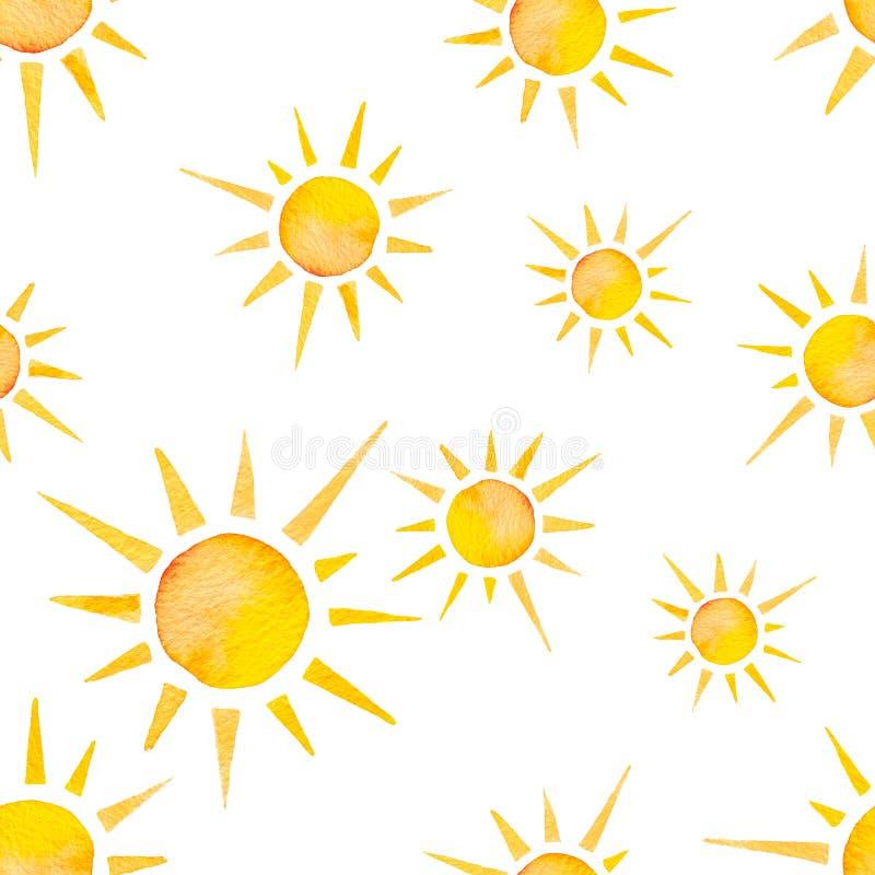 Nahtloses Muster des Watercolour Bunte Illustration des hellen Sonnenscheins vektor abbildung