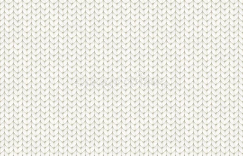 Nahtloses Muster des weißen realistischen Knitbeschaffenheits-Vektors lizenzfreie abbildung