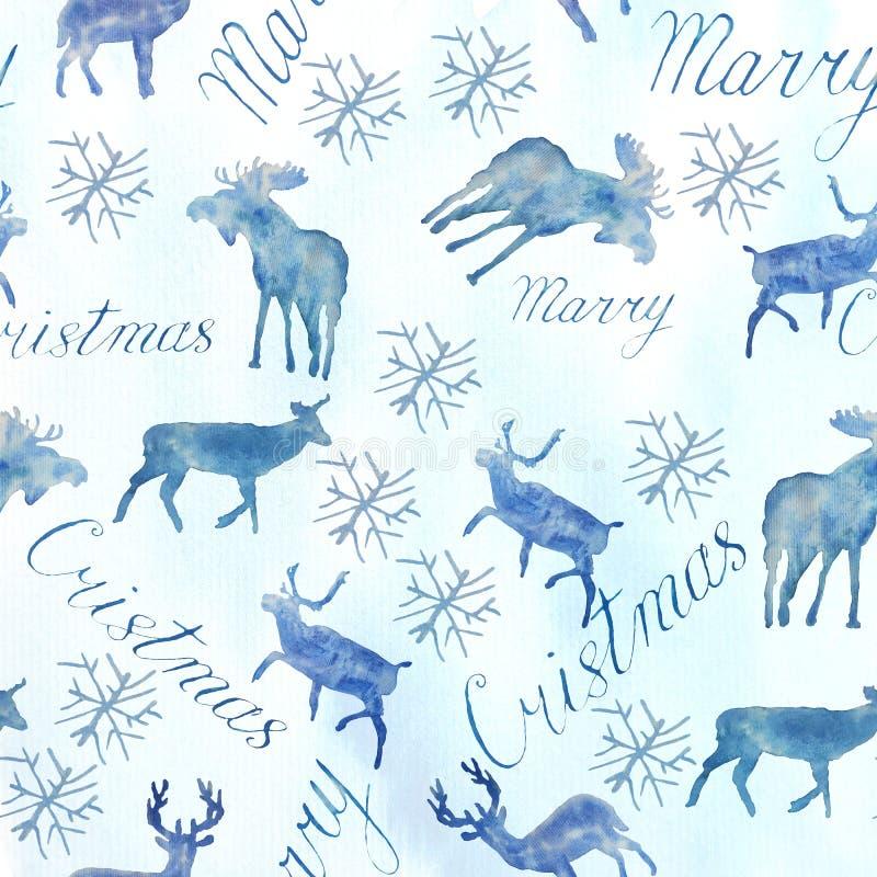 Nahtloses Muster des Weihnachtsaquarells Rotwild und Beschriftung stockfotos