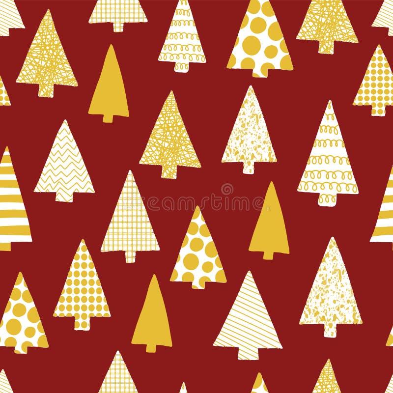 Nahtloses Muster des Weihnachtsbaum-Schattenbildvektors Abstrakter Weihnachtsbaum silhouettiert Gold und Weiß auf einem roten Hin stock abbildung