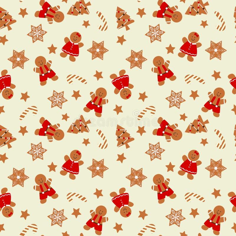 Nahtloses Muster des Weihnachtslebkuchenmannes lizenzfreie abbildung